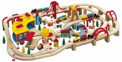 Wooden Train Set 145 pieces